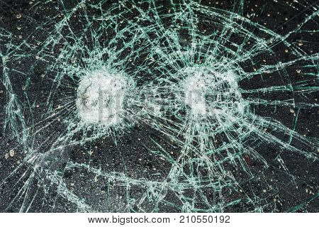 Cracked Car Window.