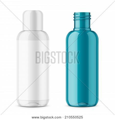 Transparent plastic cosmetic bottle with blank label. 200 ml. Cosmo round style. For lotion, body milk, shampoo etc. Photorealistic packaging mockup template. Vector 3d illustration.