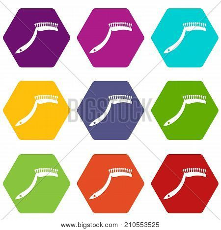 Pet comb icon set many color hexahedron isolated on white vector illustration