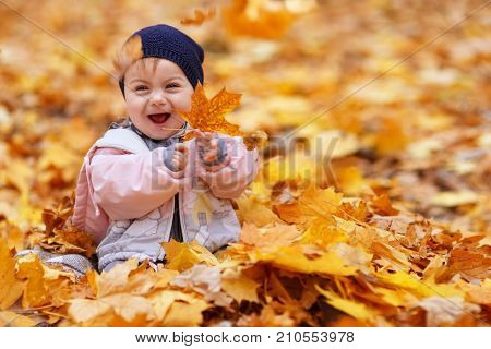 portrait of little girl in the autumn park. Baby girl laughing and playing with golden maple leaves. Happy childhood, one year old child, autumn season, outdoors concept