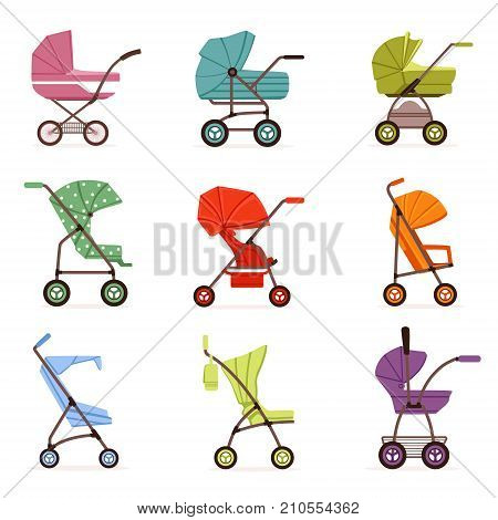 Baby stroller set, different types of kids transport, colorful vector Illustrations on a white background