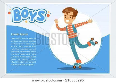Boy rolling on roller blades, boys banner for advertising brochure, promotional leaflet poster, presentation flat vector element for website or mobile app with sample text
