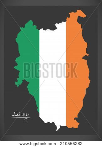 Leinster Map Of Ireland With Irish National Flag Illustration