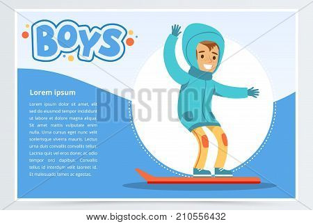Smiling boy snowboarding, boys banner for advertising brochure, promotional leaflet poster, presentation flat vector element for website or mobile app with sample text