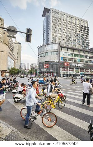 Chengdu, China - September 29, 2017: Busy Street In Downtown. Chengdu Is One Of The Three Most Popul