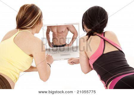 Zwei Frauen-Computer-Bildschirm