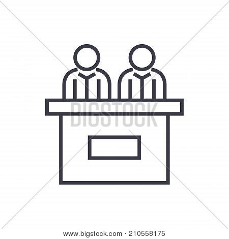 receptionist desk line icon, sign, symbol, vector on isolated background