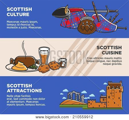 Scotland travel tourism symbol and famous landmarks banners of Scottish attractions, cuisine food and drinks. Vector flag, man kilt skirt and bagpipes, sword, ale beer and old architecture castle