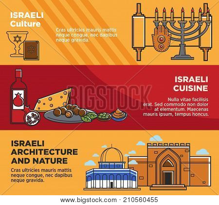 Israel travel tourism landmarks and culture famous symbols or traditional cuisine banners. Israeli flag, Hanukah candle and religious Jewish temple or Torah and David Star, matzo and hummus food