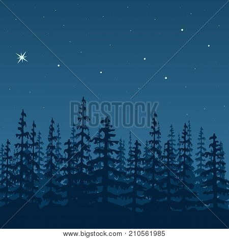 landscape with silhouette of forest at night. Sky, stars, wood, trees, firs, mist, polar star, great bear. Shadows. Vector illustration.