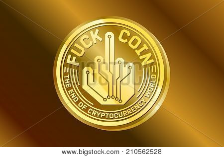 Fuck coin gold digital currency humor logo icon. Golden illustration of coin digital crypto currency humor logo isolated on dark background icon for web or print design