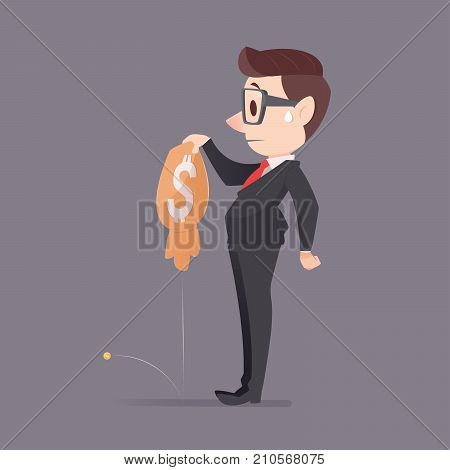Businessman loses money against gray background Economic downturn Vector illustration