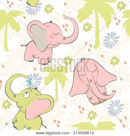 Vector seamless pattern with elephant and birds