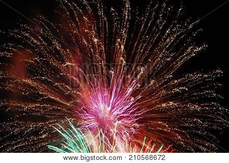 Firework and its amazing colors, shining and flashing lights