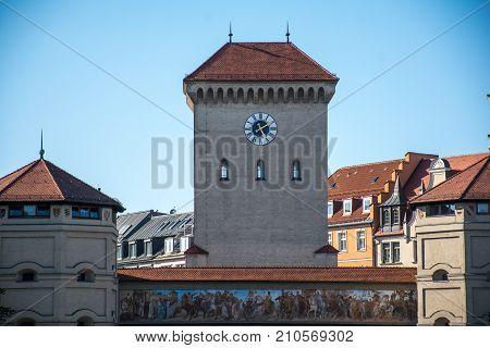 View of the clock Munich City Hall in Munich