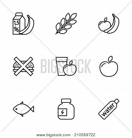 Thin Line Fitness Nutrition, Low-calorie Food Icons Set On White