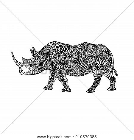 Isolated hand drawn black outline monochrome abstract ornate rhinoceros on white background. Ornament of curve lines. Page of coloring book. Side view of rhino