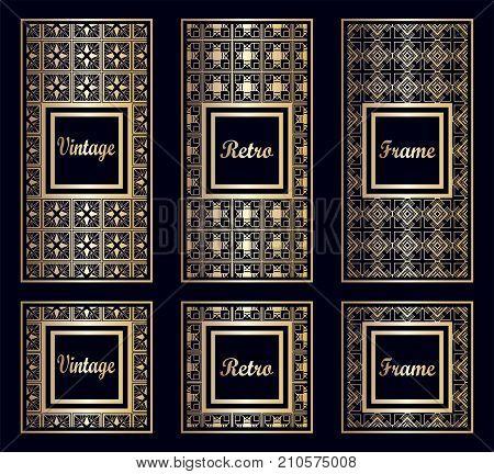 Vintage Ornamental Art Deco Frames Set. Template For Design. Vector Illustration Eps10