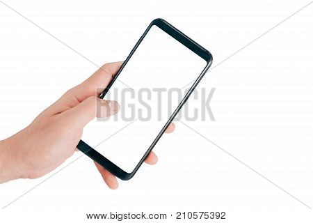 Smartphone Mock up, Hand holding mobile phone and using touching screen isolated on white background with clipping path for design.