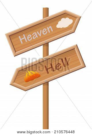 Heaven or hell - two sign posts pointing in opposite directions, one upwards to paradise the other one downwards for the the bad, evil, wicked, sinful people. Isolated vector illustration over white.