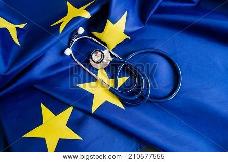 Stethoscope With European Union Flag. Concept Of The Health Of Europe. Stethoscope Over European Fla