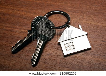 keys from the apartment with a keychain in the form of a house close-up