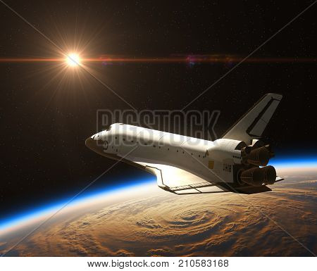 Space Shuttle On The Background Of Rising Sun. 3D Illustration.