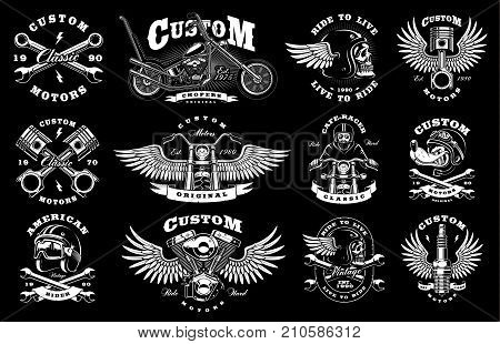 Set of vintage custom motorcycle design templates. All elements text are on the separate layer. (VERSION FOR DARK BACKGROUND)