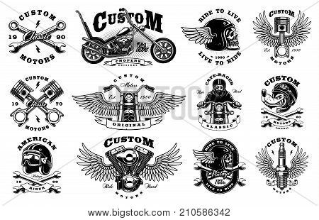 Set of vintage custom motorcycle design templates. All elements text are on the separate layer. (VERSION FOR WHITE BACKGROUND)