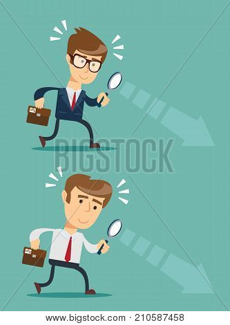 Businessman looking through a magnifying glass. Business and finance concept. Set, Vector, illustration, flat