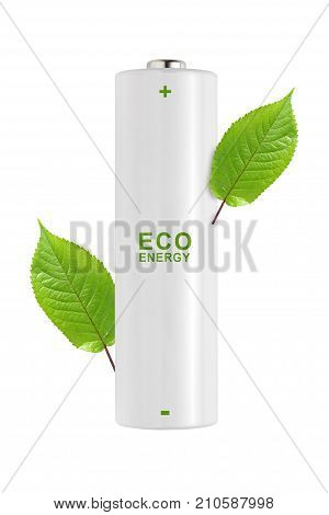 Battery with green leaves isolated on white background. Ecological energy concept.