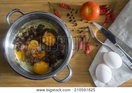 Turkish scrambled eggs with Kavurma / Omlet or Omelette.