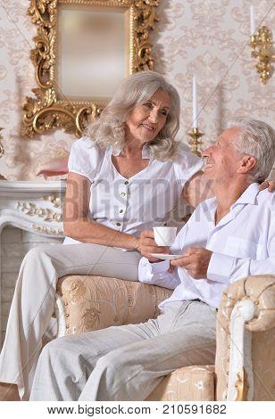 happy senior couple drinking tea in cozy living room