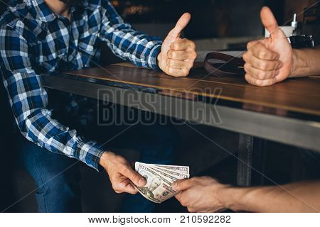 bribe corruption business espionage. illegal deal concept