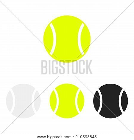 Tennis ball set. Vector silhouettes of a tennis balls. Vector icons isolated on white background. Vector collection in flat style.