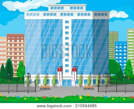 Office building exterior. Commercial building, hotel, business centre. Skyscraper modern city house. Cityscape, road, tree and clouds. Vector illustration in flat style