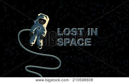 Astronaut in outer space. Lost in space. Flat concept illustration.