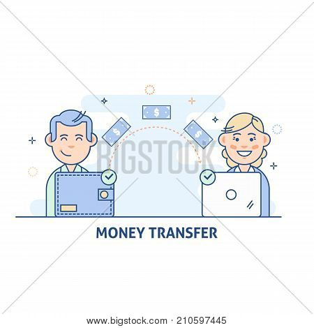 Payment Transfer. People sending and receiving money.Transfer money from wallet to the computer.Isolated flat vector illustration in light color
