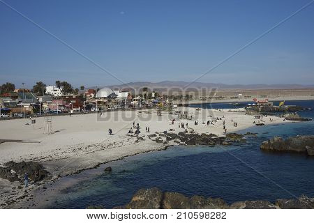 Bahia Inglesa, Antofagasta Region, Chile - September 2, 2017: Waterfront of the historic coastal town of Bahia Inglesa on the edge of the Atacama Desert in Chile.