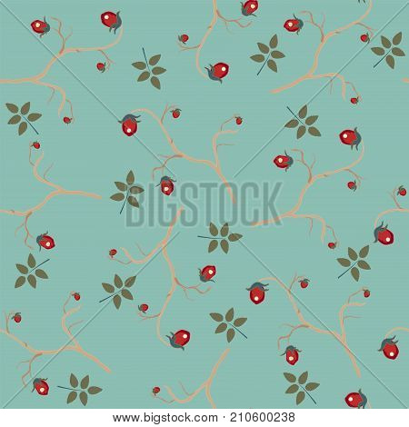 Hand Drawn Berries of Brier. Seamless Pattern. Vector Illustration