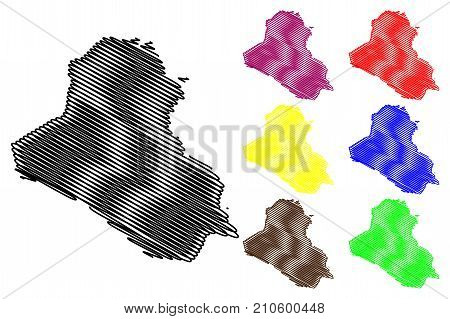 Iraq map vector illustration , scribble sketch Irak