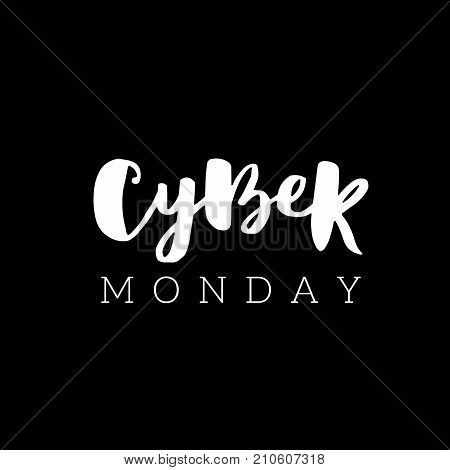 Cyber Monday Sale Lettering Design Template. Advertising Poster Design. Sale Discount Banner Label S