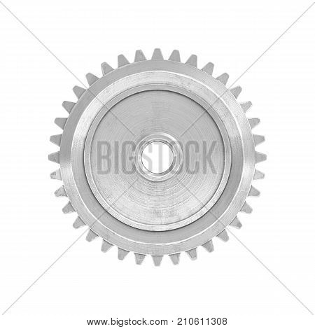 3d rendering of a single metal straight spur gear in side view isolated on a white background. Mechanical parts. Equipment and tech. Gear box parts.