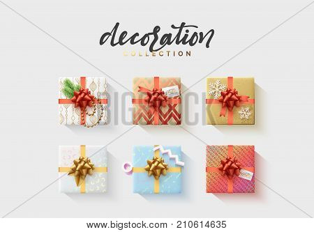 Set of colorful wrapped gift boxes. Lots of presents. Flat decoration collection.