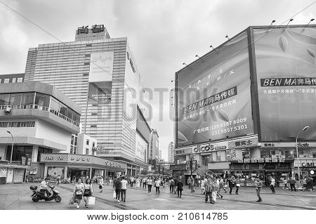 Chengdu, China - September 29, 2017: Shopping Street In Downtown Chengdu, One Of The Three Most Popu