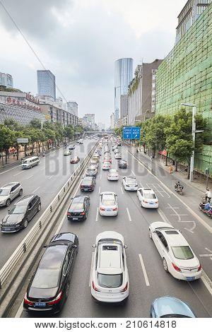 Chengdu, China - September 29, 2017: Traffic Jam During Rush Hour In Downtown Chengdu.