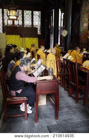Chengdu, China - September 29, 2017: Buddhists At Wenshu Monastery, The Best Preserved Buddhist Temp