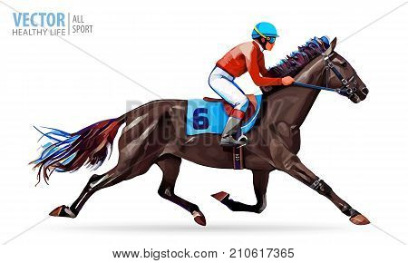 Jockey on horse. Champion. Horse racing. Hippodrome. Racetrack. Jump racetrack. Horse riding Racing horse Vector illustration