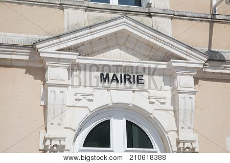 The Front Of The White Town Hall Of A Small Town In France,mairie Means City Or Town Hall