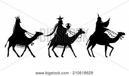 The Magi on the way to Jesus. Nativity christmas graphics design elements.